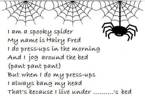 """I am a Spooky Spider, My name is Hairy Fred..."""" #childrensrhymes 