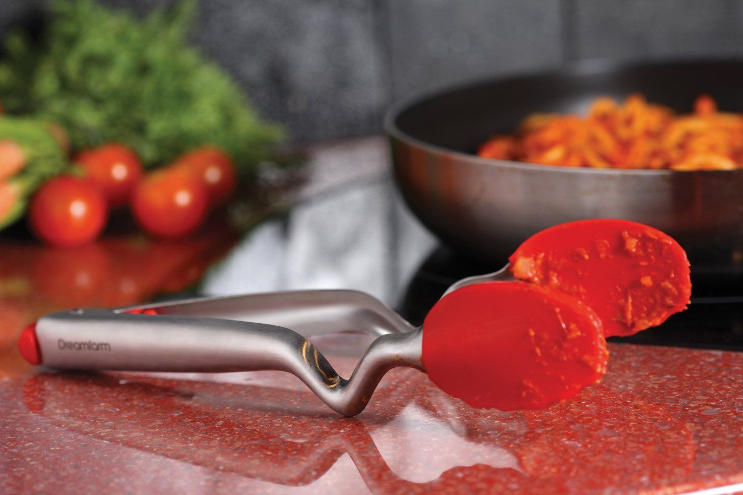 DFCL1228 Click-Lock Sit Up Tongs with Silicone Heads Red Dreamfarm Clongs 12-Inch