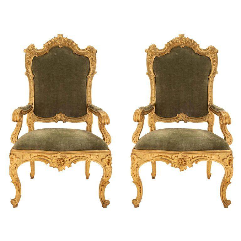 Pair Of Roman 18th Century Louis Xv Period Giltwood Throne Armchairs Armchair 18th Century Armchairs For Sale
