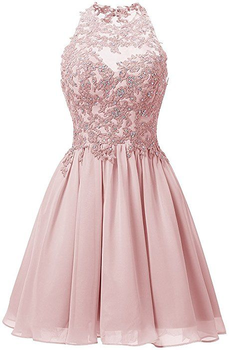 7bd8ee8c96 Cdress Appliques Bodice Chiffon Short Homecoming Dresses Backless Prom  Cocktail Gowns Coral US 2 at Amazon Women s Clothing store