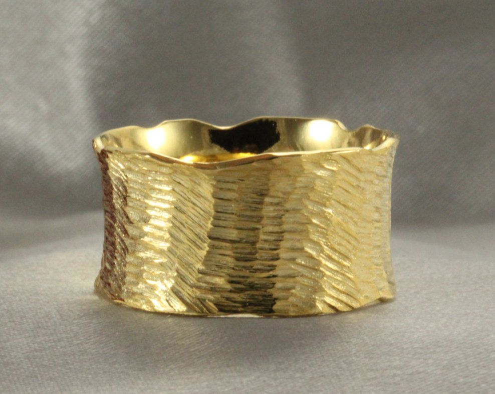 Wedding BandHandmade Ring GOLD RING Cutting Texture Wide Gold Solid Mens By LIRANSHANI On Etsy