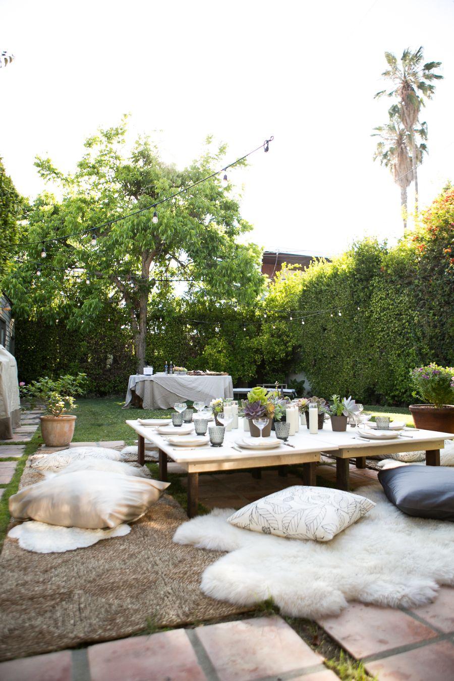 Garden event decor  Bohemian Backyard Dinner Party  Vaulting Galleries and Backyard