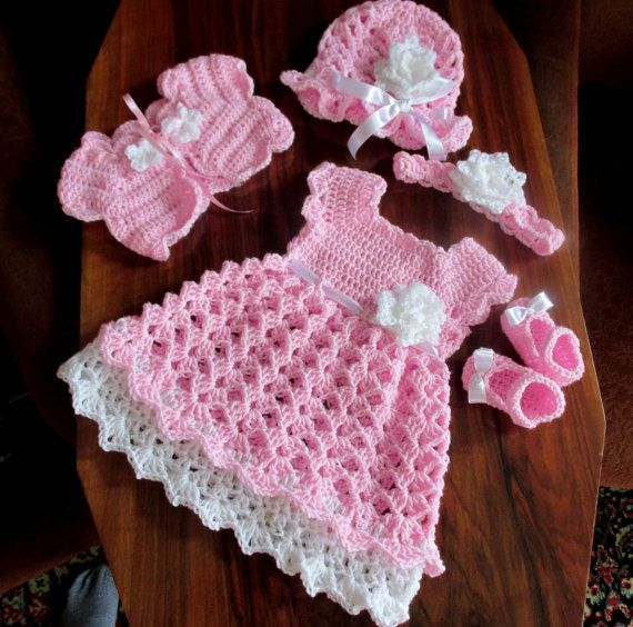 Crochet pattern for baby dress hat bolero shoes and headband 5 patterns in one size newborn to 12 months #babysets