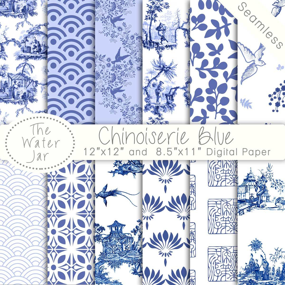 Chinoiserie China Blue Digital papers, Chinoiserie