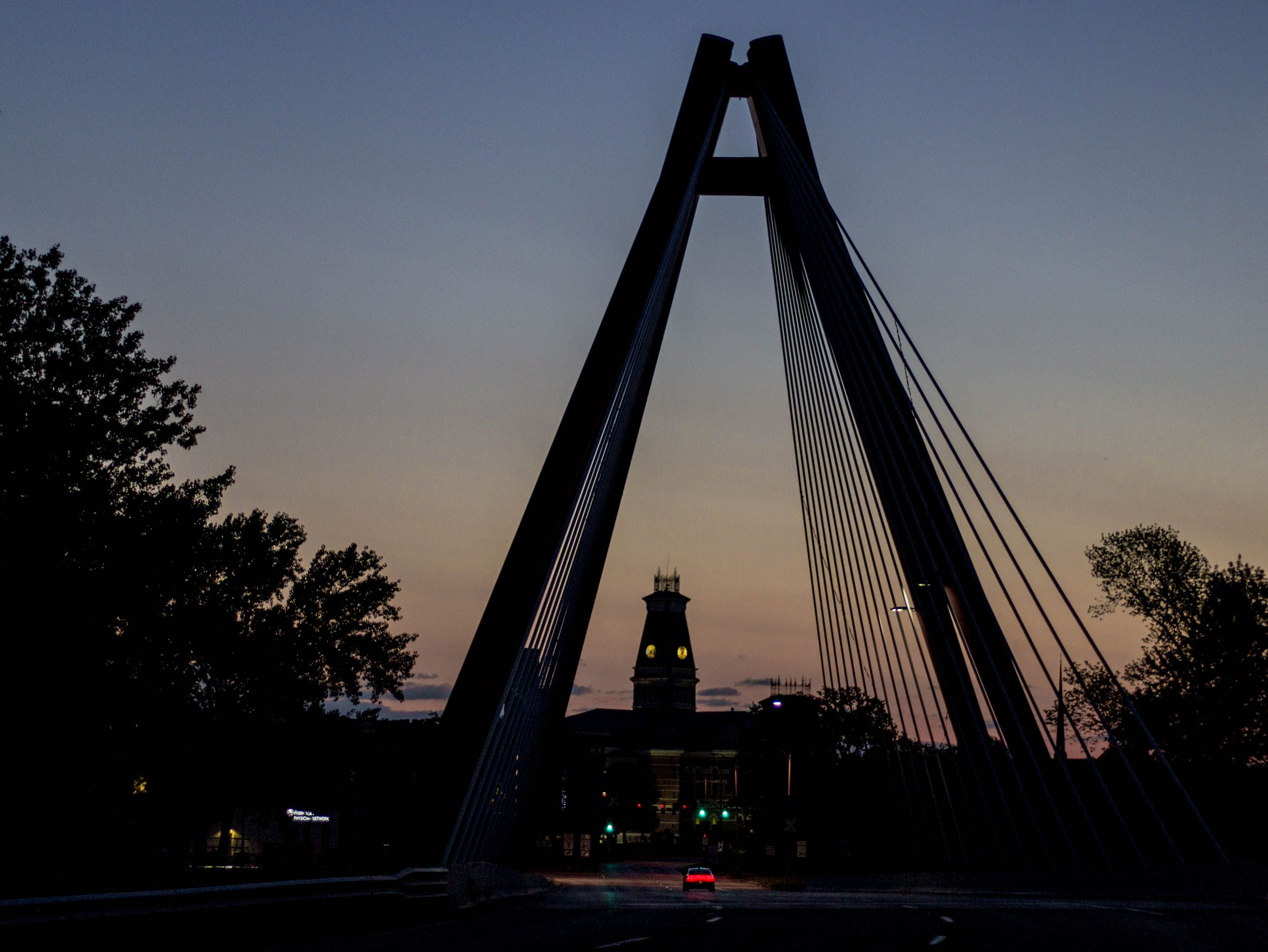 The gateway to the city of Columbus, Indiana. The Robert N. Stewart cable stayed bridge at sunrise. Photo by Shannon Malanoski