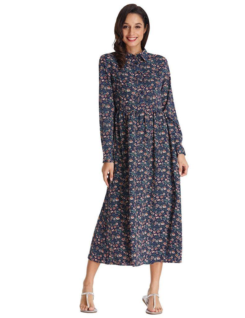 295747964ad8 GRACE KARIN Women's Vintage Style Long Sleeve Floral Print Long Maxi Dress