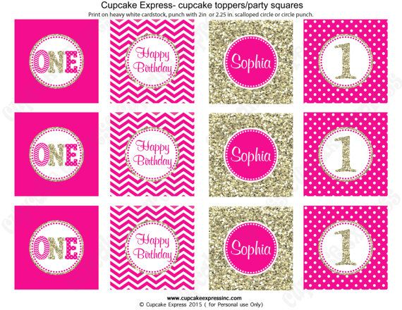 One First Birthday girl Hot pink gold PRINTABLE Cupcake Toppers