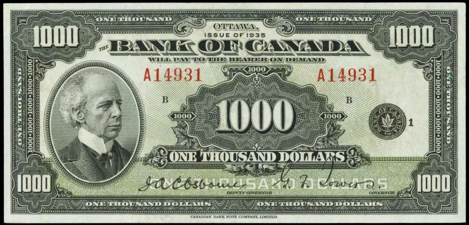 Bank Of Canada 1935 1000 Dollars Note Thousand Dollar Bill Bank Notes Dollar Bill