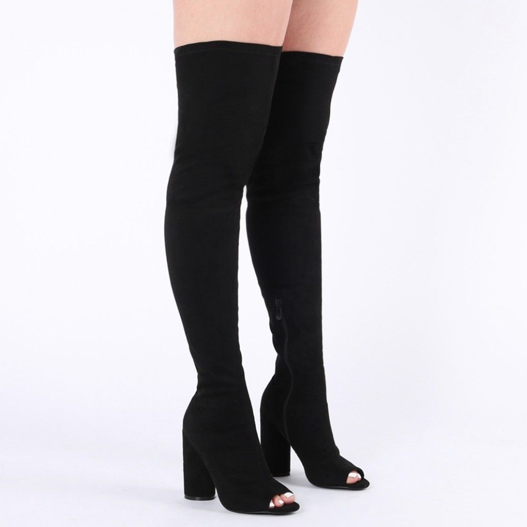 62c98d00252e Jana Over the Knee Peeptoe Boots in Black Faux Suede | cool vegan ...