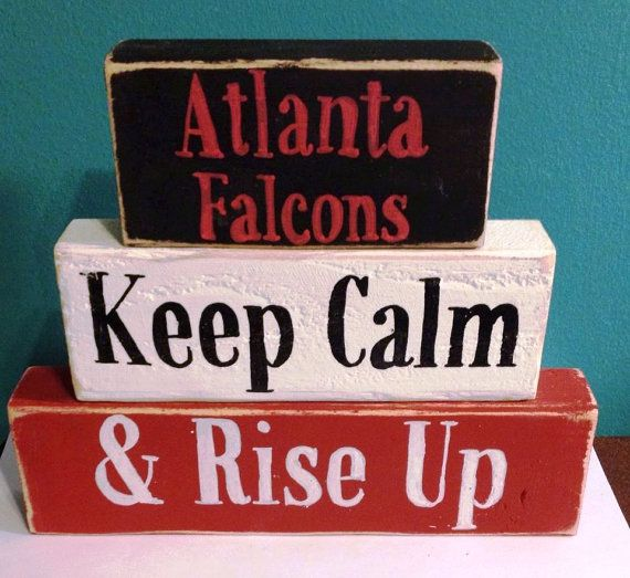 Atlanta Falcons Keep Calm And Rise Up Hand Crafted Painted Primitive Block Saying Summer Beach Home Seasonal Personalized Decor