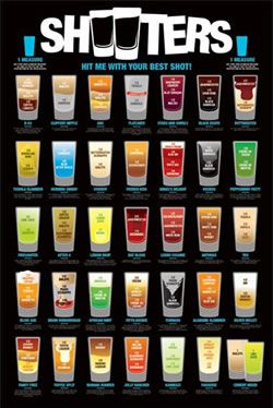 shooters a list of alcoholic shots ingredients glassware