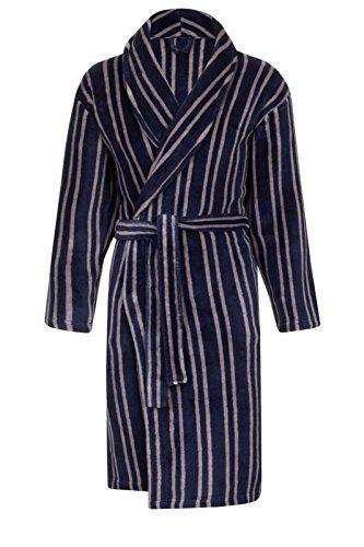Mens Luxury Striped Dressing Gown + Belt Gents Fleece Bath Robes ...