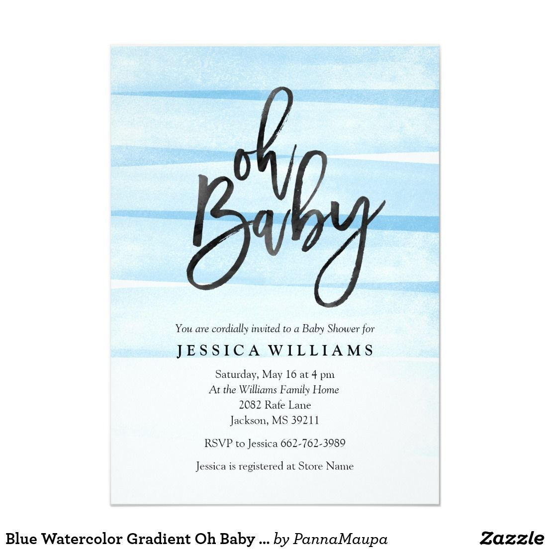 Blue Watercolor Gradient Oh Baby Shower Invitation | Baby Shower ...