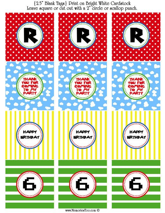 Mario party printable tags