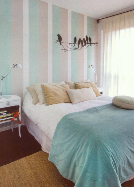 Light Teal Bedroom Ideas Part - 26: Light Teal Bedroom | Striped Accent Wall | Birds Wall Decal