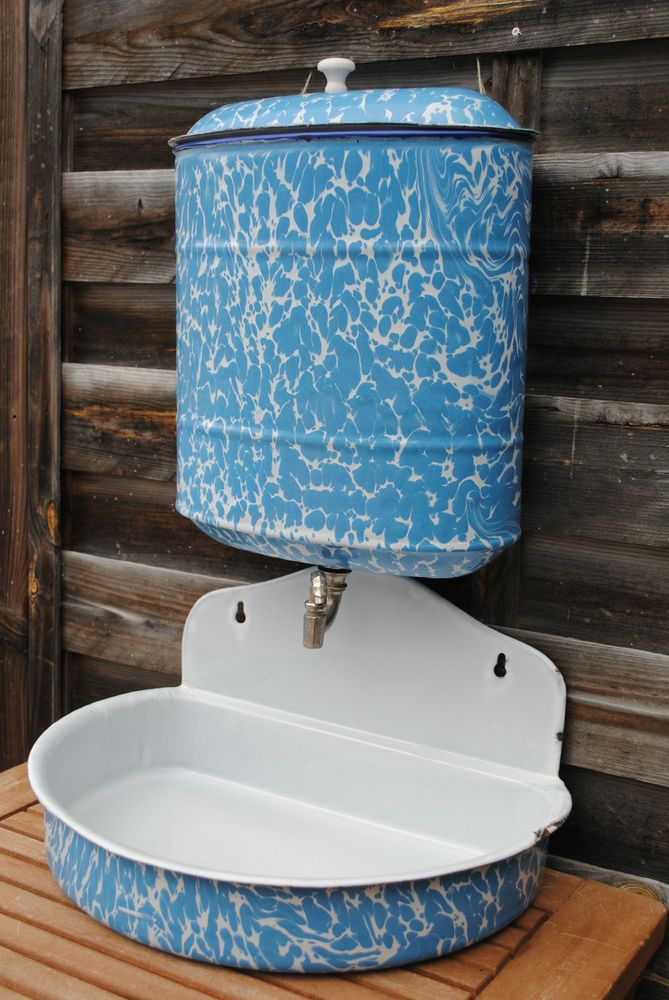 Vintage French Enamelware Graniteware Enamel Wall Fountain Lavabo ...
