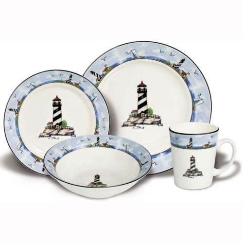 dish sets 16 pc lighthouse light house dinnerware dishes set