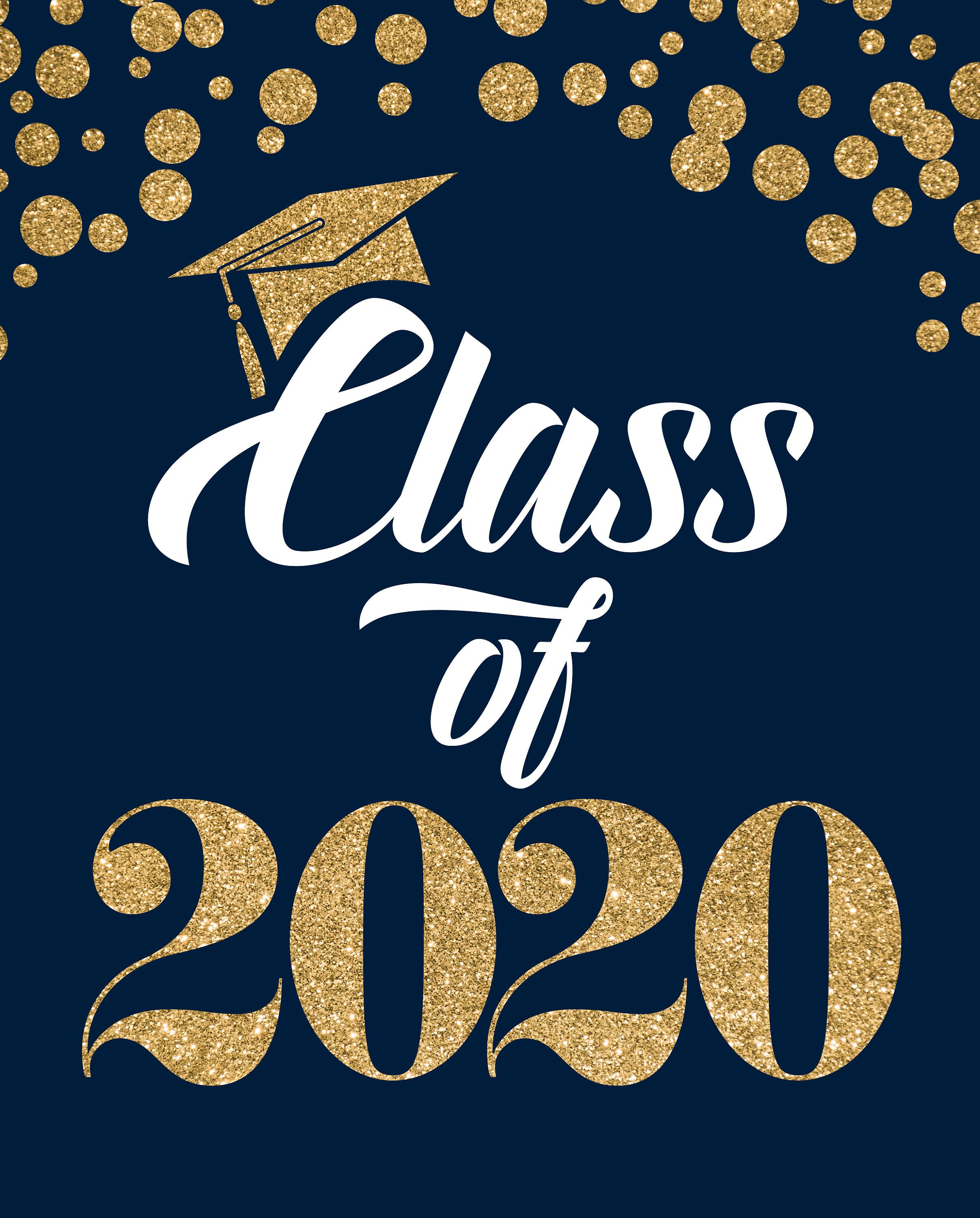 Photo of Class of 2020 Printable Navy Blue and Gold Glitter Party Sign