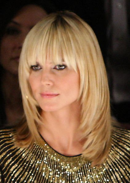 Heidi Klum Medium Straight Cut With Bangs Hair Pinterest Haar