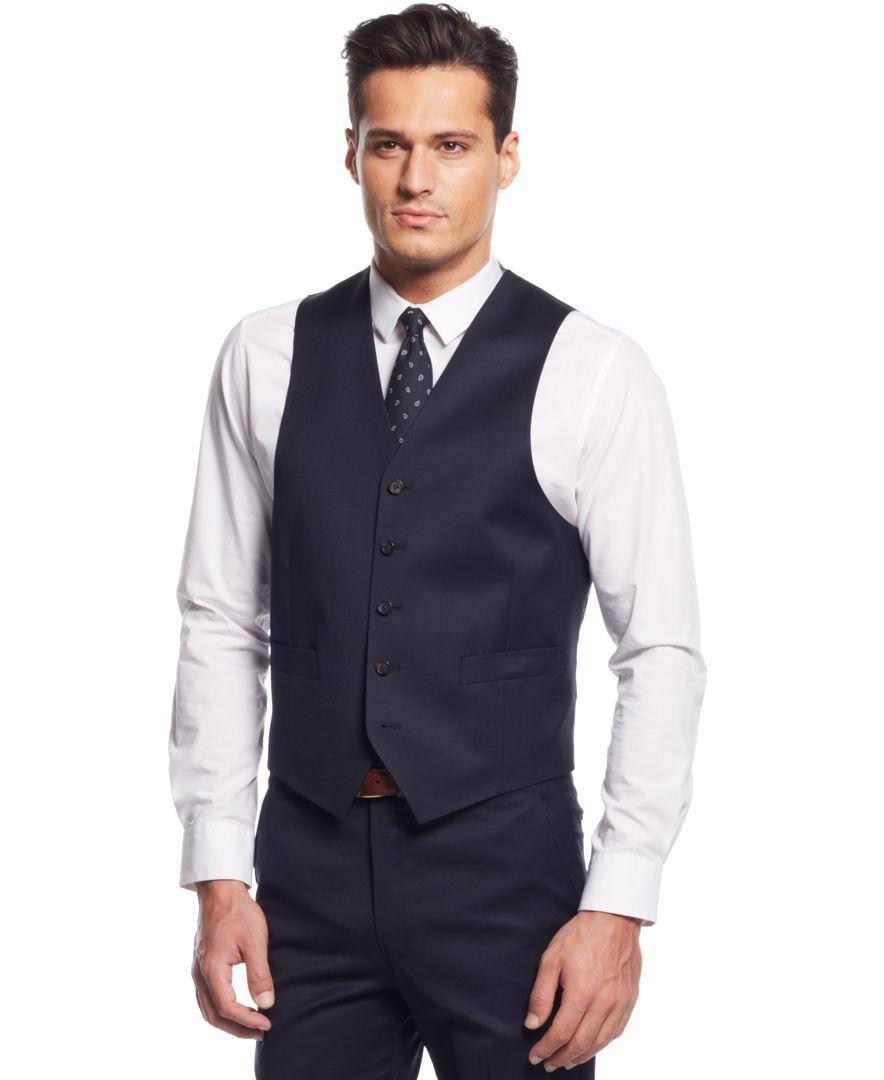 Lauren Ralph Lauren Navy Solid Vest Vest Tuxedo For Men Solid Vest