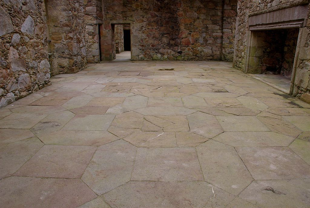 "Tolquhon Castle, Aberdeenshire, Scotland - Detail of floor in main hall - The castle was built by William Forbes, 7th Laird of Tolquhon, between 1584 and 1589 as an extension to the earlier tower house known as Preston's Tower. Although ruined, the castle has been described as ""the most characteristic château of the Scots Renaissance"".."