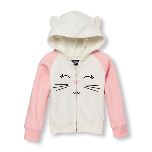 Baby Girls Toddler Active Long Raglan Sleeve Cat Face And 3D Ears Full-Zip  Hoodie - Pink - The Children's Place