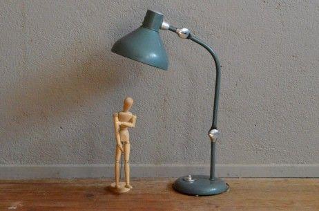 Lampe De Bureau Jumo Gs1 Verte Indus Vintage Annees Soixante Chrome