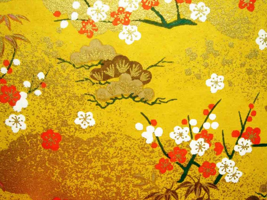 Hand-made Japanese paper | Yuzen washi, flowers and clouds pattern. From the collection of tengds.