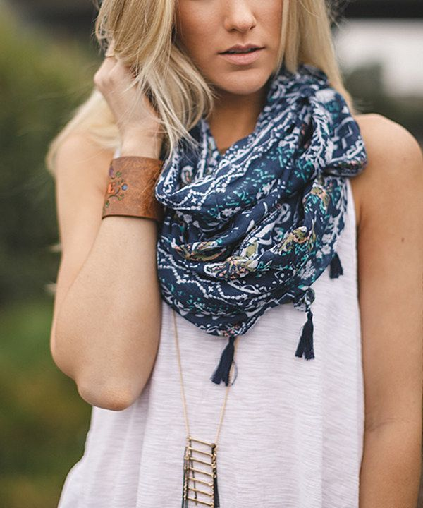 Look at this Navy Tribal Infinity Scarf on #zulily today!