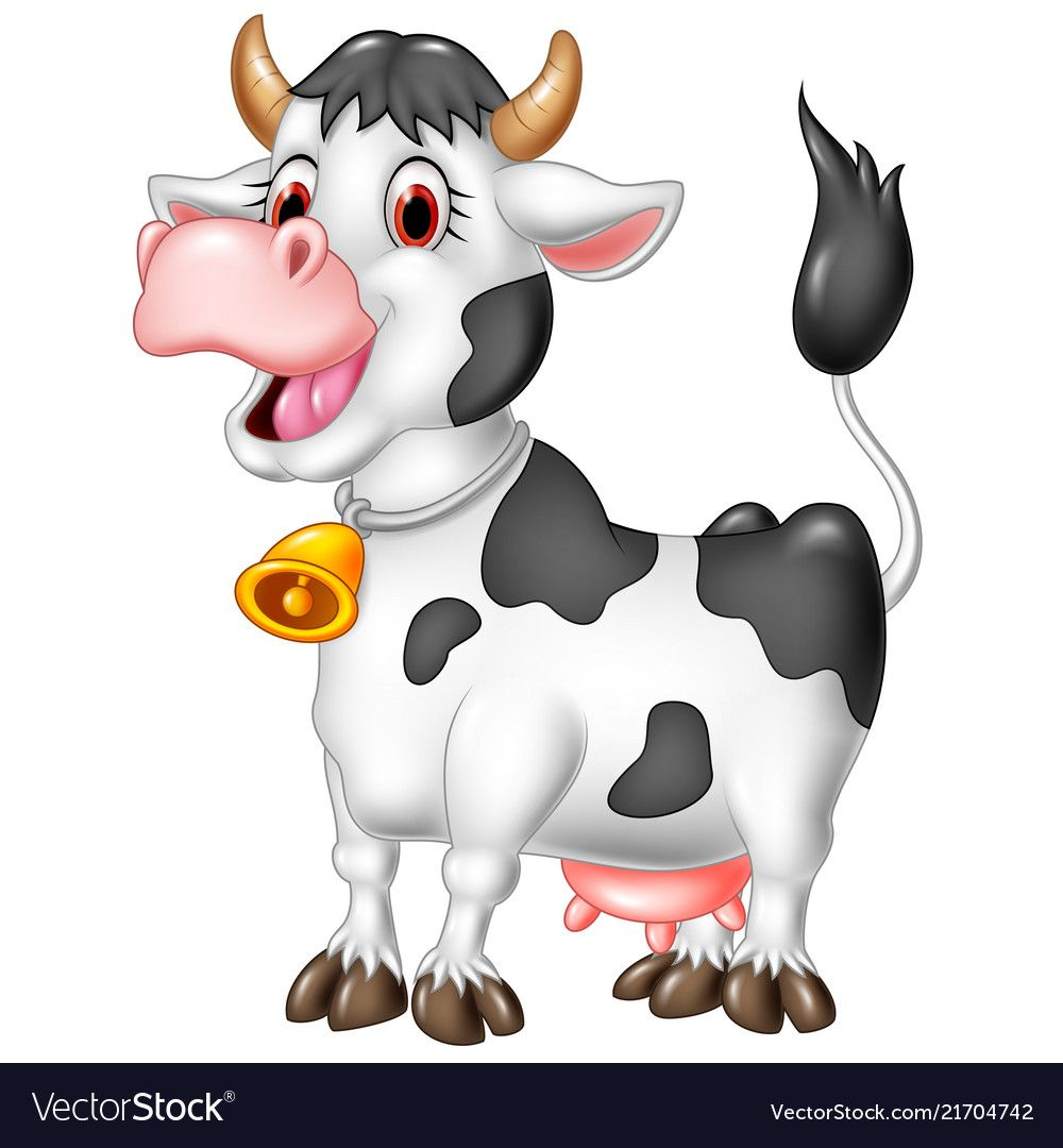 Cartoon Happy Cow Isolated On White Background Vector Image Happy Cow Cow Cartoon Cow