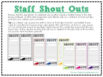 Staff Shout Out Slips Staff Morale Teacher Morale Employee Engagement