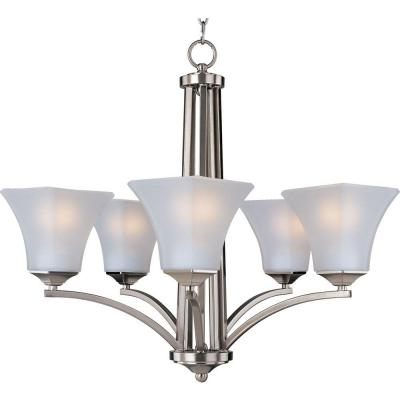 5 Light 24 In Single Tier Chandelier Satin Nickel Finish Frosted Glass Shade Ceiling