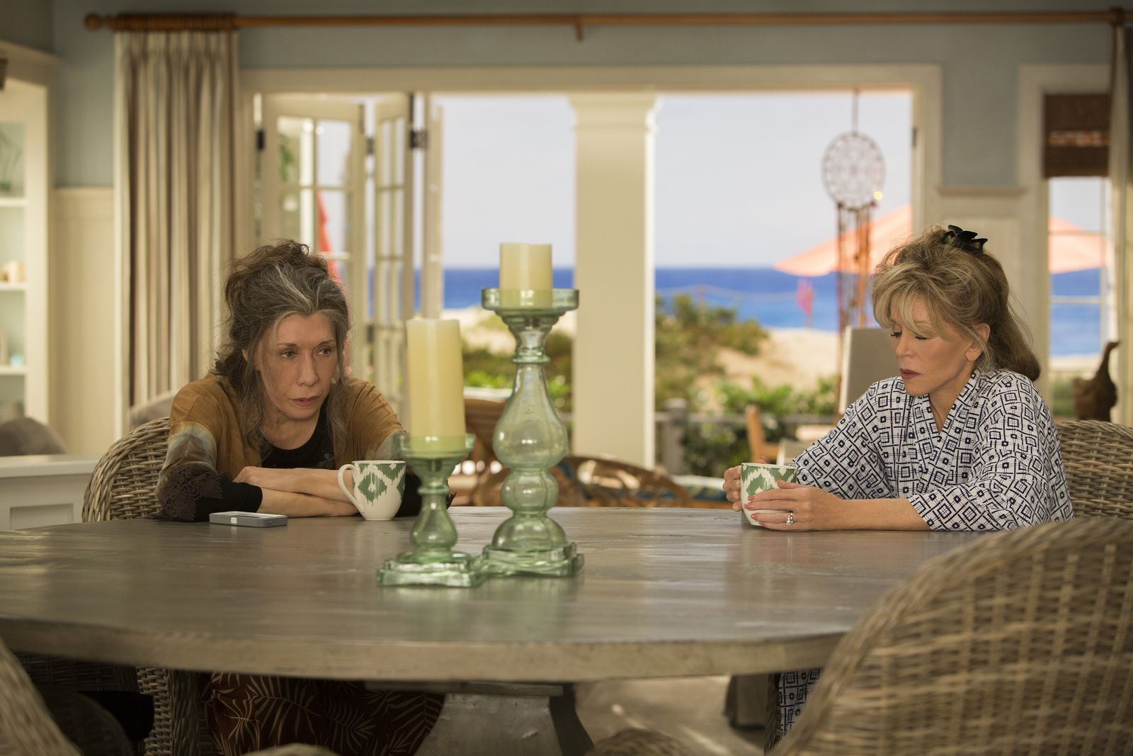 Grace and Frankie hang out.