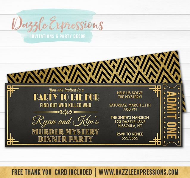 Printable Murder Mystery Dinner Party Ticket Invitation  Black