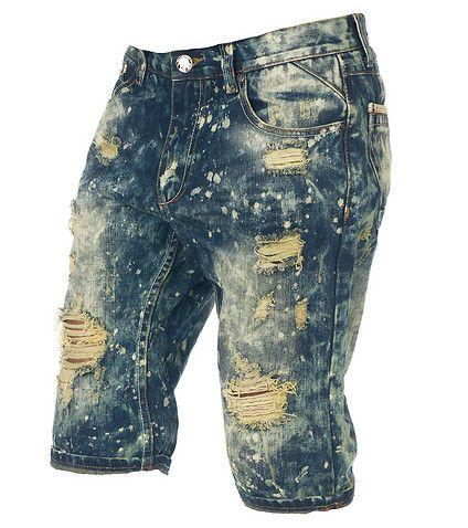 BYWX-Men Elastic Waist Straight Fit Ripped Hole Distressed Denim Shorts