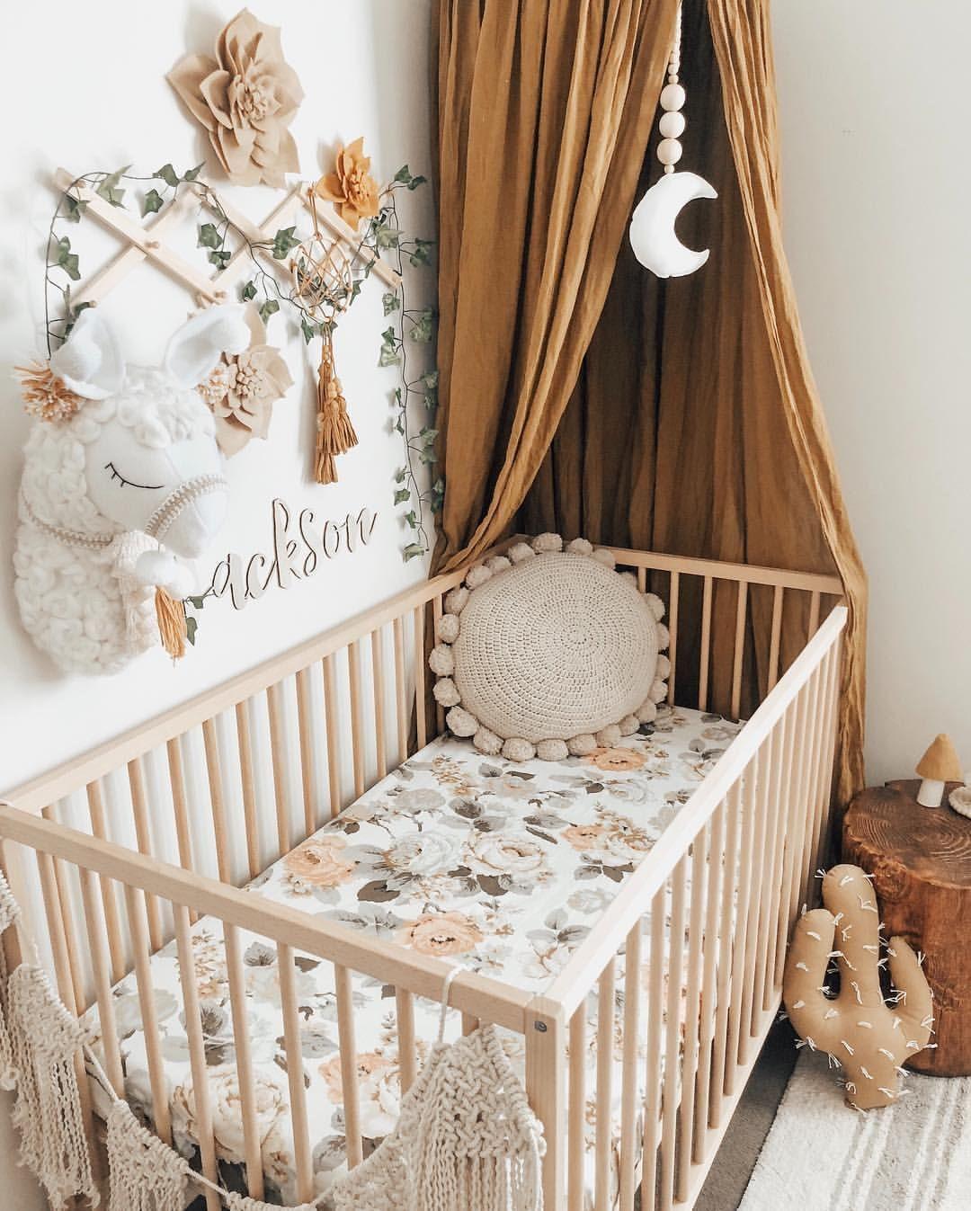 Babybett Kinderbett Vintage Floral Inspiration Canopy Himmel Mustard Senf Numero74 | Nursery Baby Room, Gender Neutral Nursery Decor, Baby Nursery Inspiration