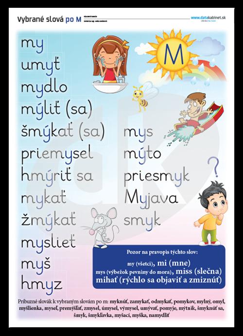 4bbdacddc Vybrane slova M Trieda, Vzdelávanie, Aktivity Pre Deti, Literatura