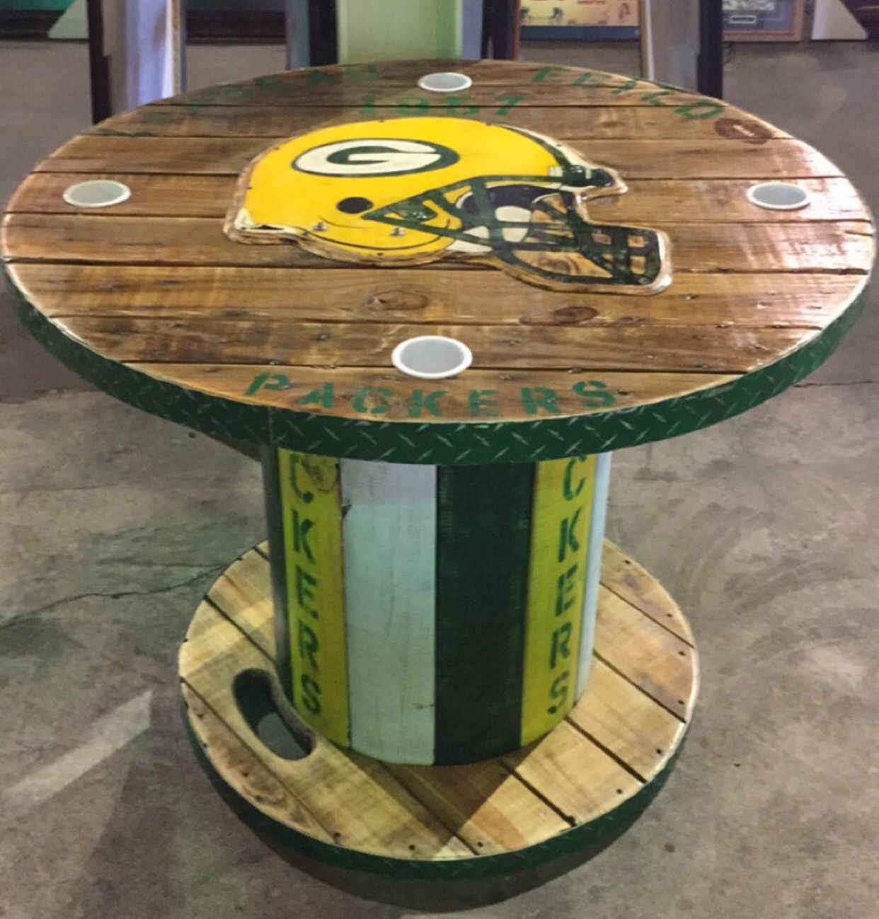 Wooden Spool Green Bay Packers Table Wooden Spools Wooden Chicken And Vegetables