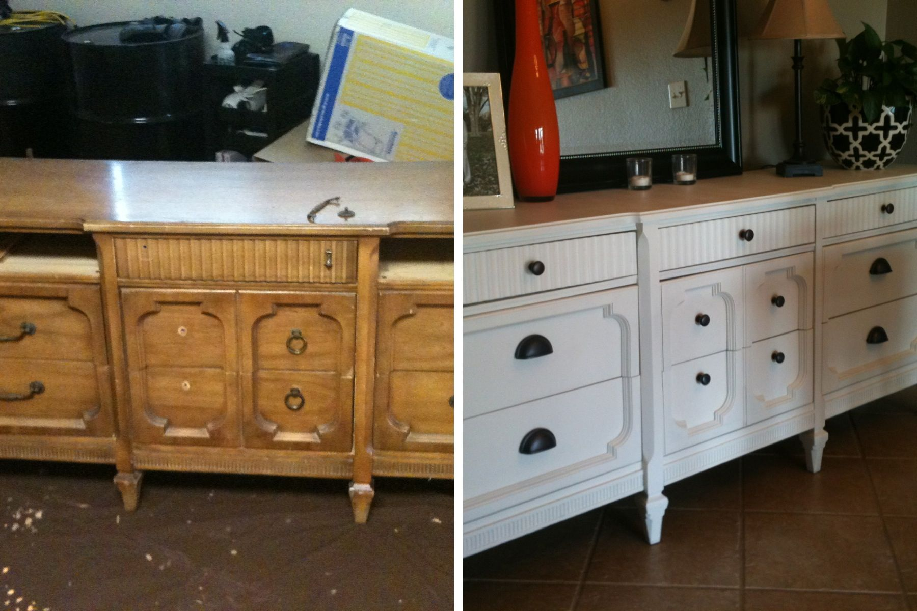 Painted old 40 dresser with antique white by glidden