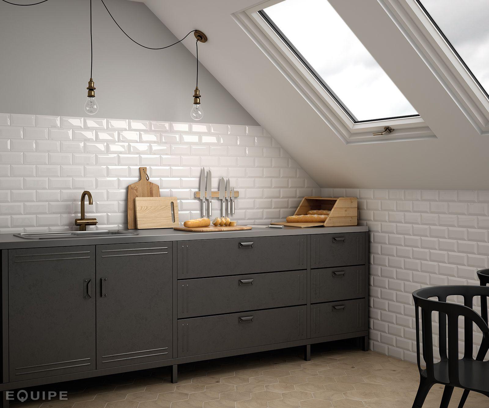 Metro white hexawood natural kitchen walls