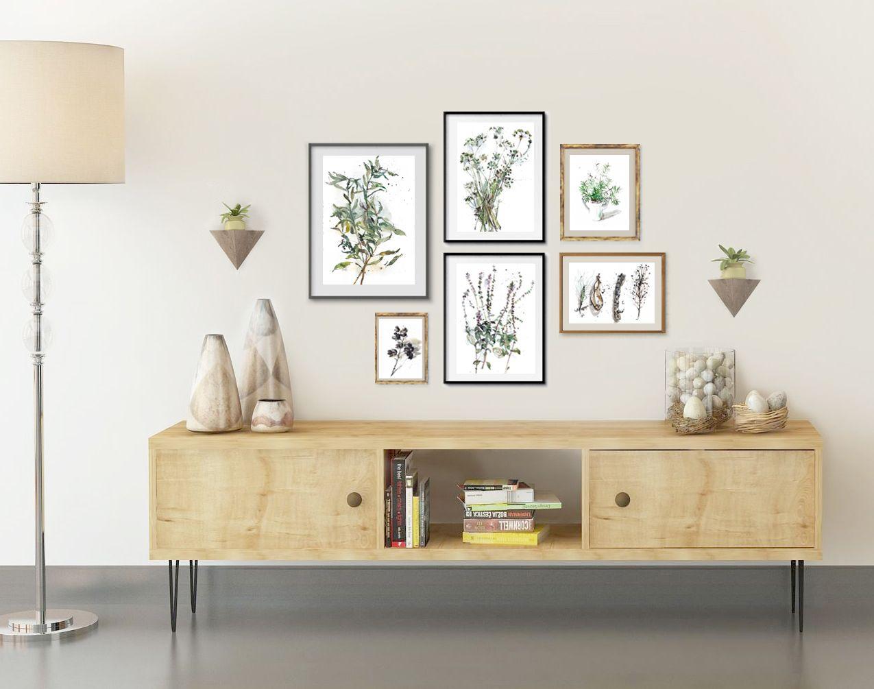 Wall Art Set of 6 Herb Prints, Botanical Watercolor Set, Gardening ...