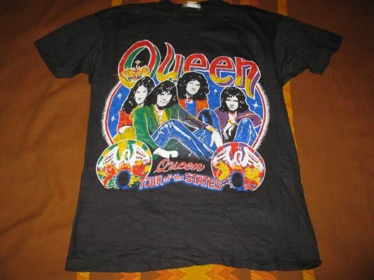 b5d70c3879b Leather Vintage Graphic Tees for Men. 80s QUEEN TOUR OF THE STATES VINTAGE T -SHIRT FREDDY MERCURY