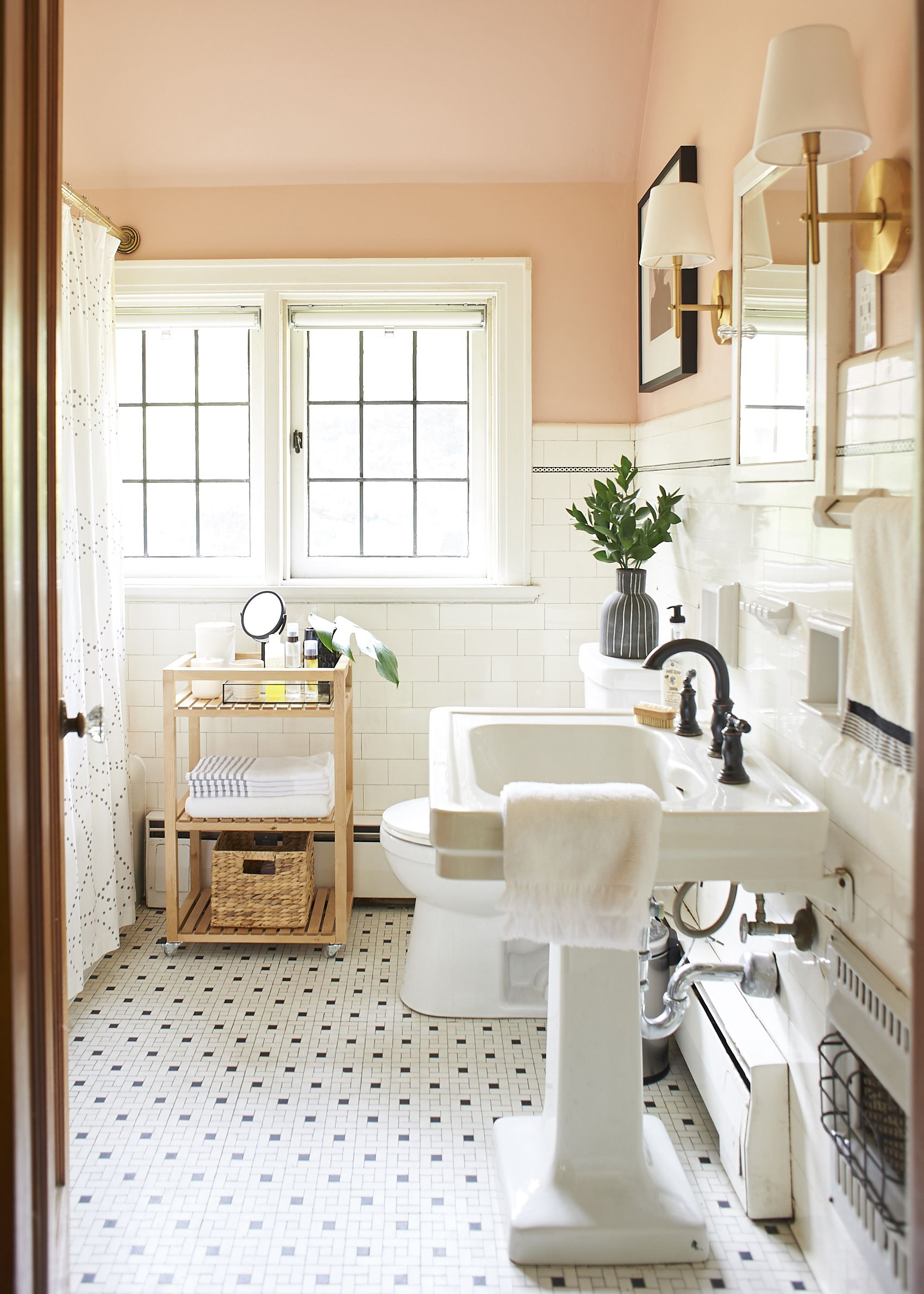 Blush and moody tones in a pittsburgh home for for Townhouse bathroom ideas