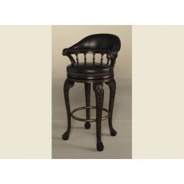 Maitland Smith Carved Bentley Chocolate Leather Barstool Avec