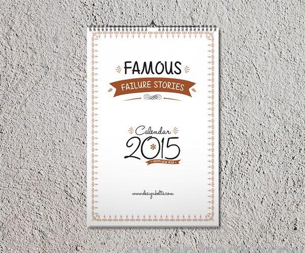 Printable Free Calendar 2015 Design Template Mock Up Pinterest