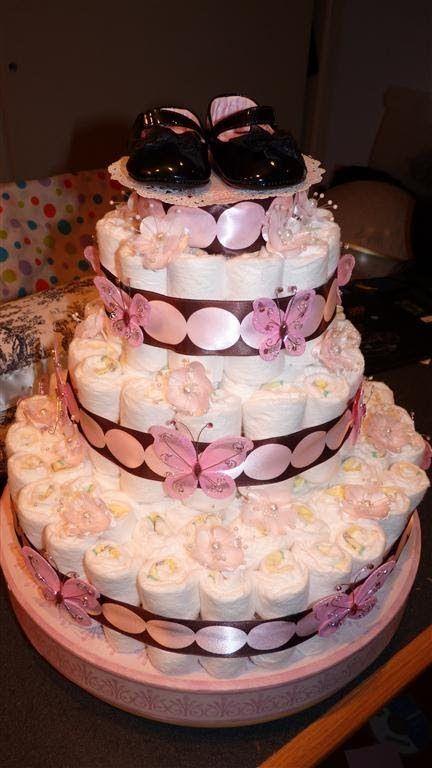 Diaper Cake For Baby Girl Diaper Cake Pinterest Baby Baby
