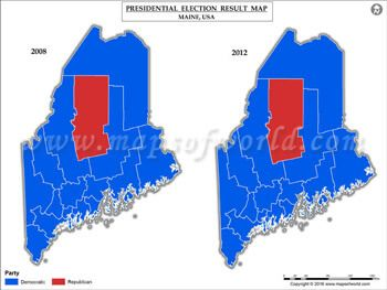 Maine Election Results Map Vs USA Presidents Election - Map maine usa
