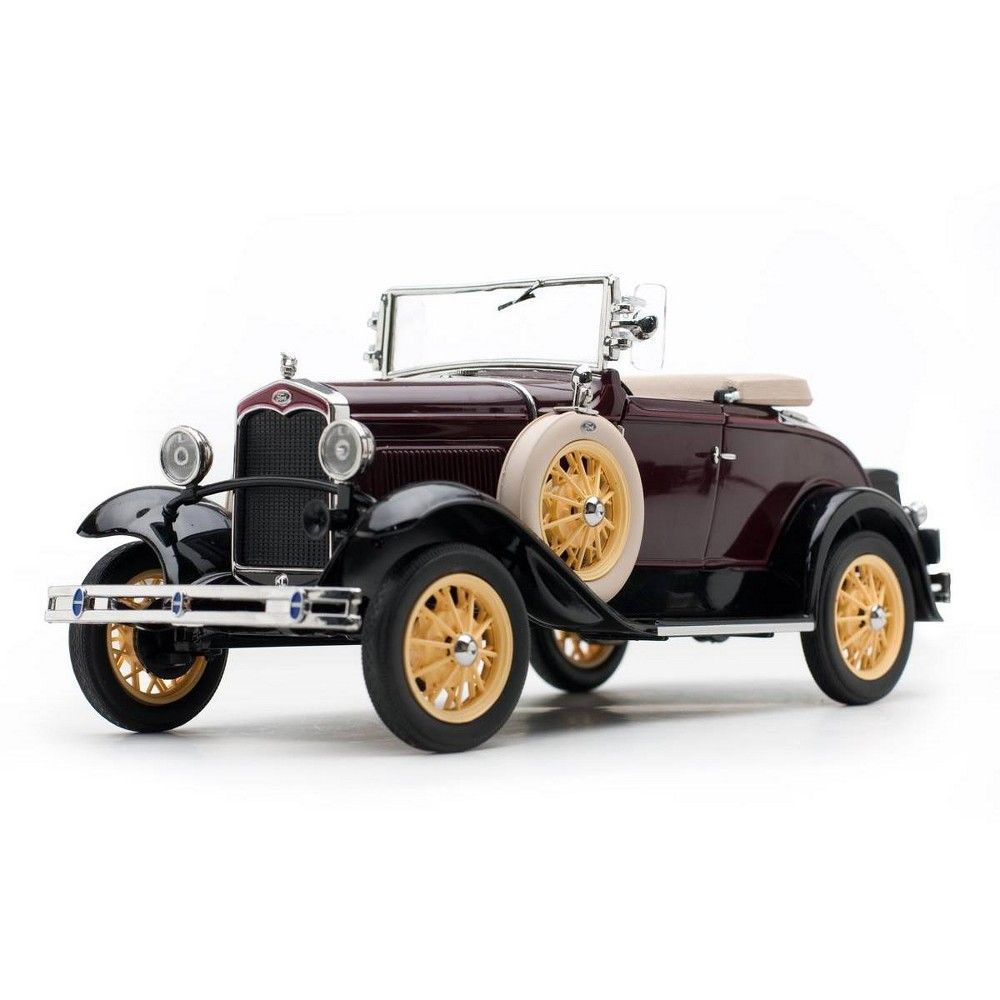 1931 Ford Model A Roadster Ford Maroon 1/18 Diecast Model Car by SunStar