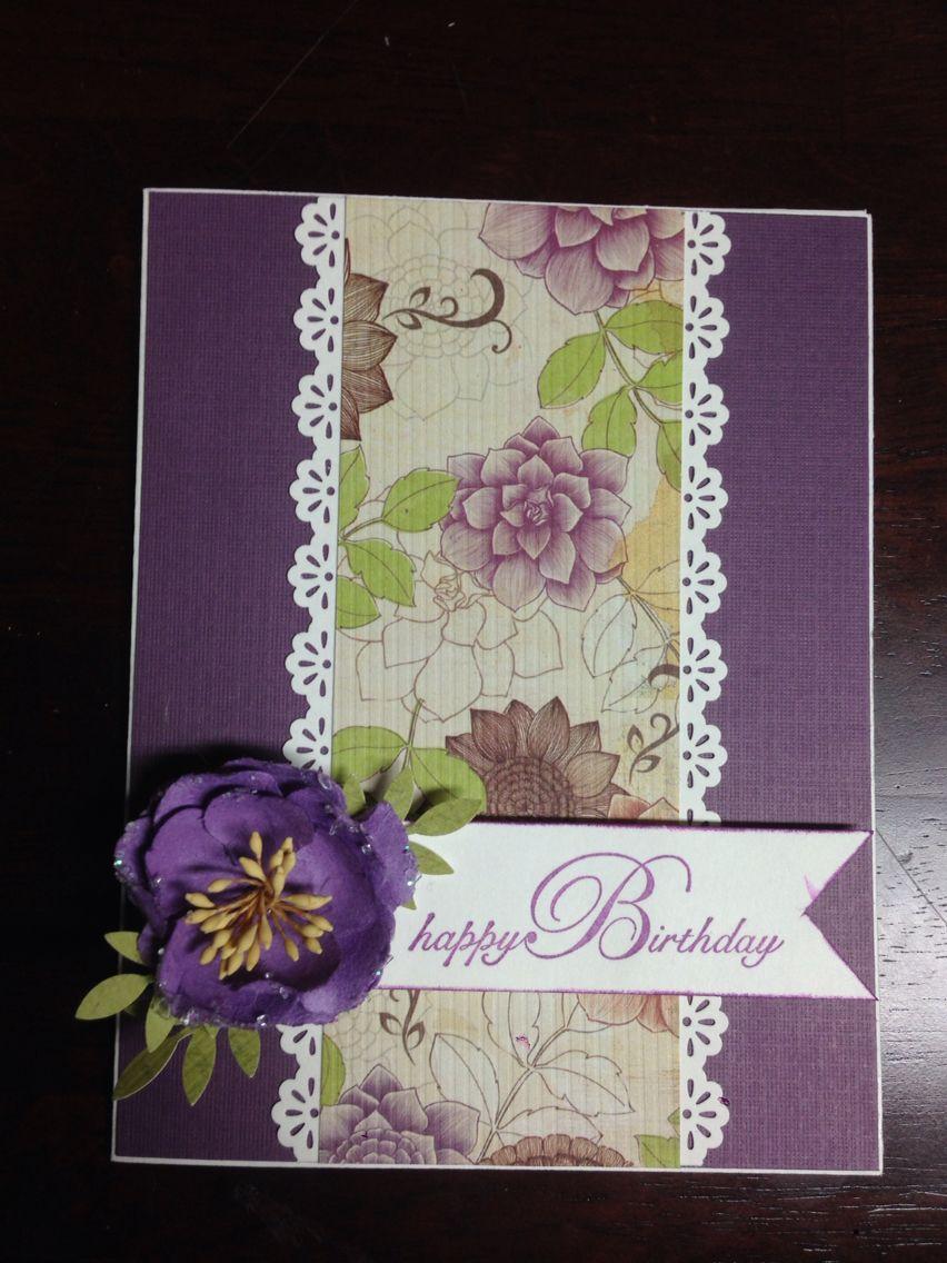 Handmade card birthday handmade card birthday card purple flower