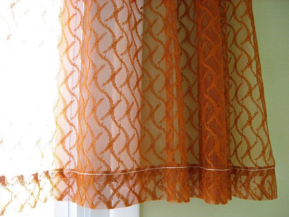 sheer curtain burnt orange rust color one panel of netted textured window treatment - Rust Color Curtains